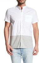 Kenneth Cole New York Short Sleeve Blocked Bottom Trim Fit Shirt