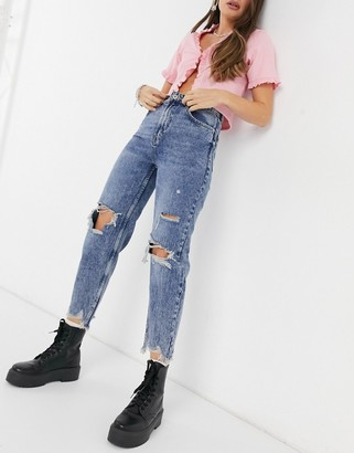 Bershka ripped mom jeans with distressed hem in dark blue
