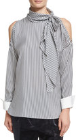 Brunello Cucinelli Striped Cold-Shoulder Tie-Neck Blouse, White/Blue