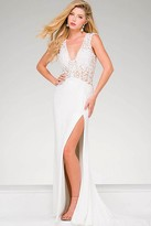 Jovani V Neckline High Slit Prom Dress 31009