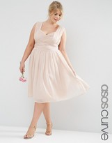 Asos WEDDING Midi Dress with Ruched Panel