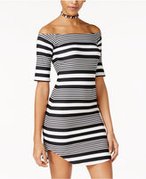 Planet Gold Juniors' Striped Off-The-Shoulder Bodycon Dress