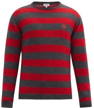 Loewe Anagram-embroidered Striped Sweater - Red Multi