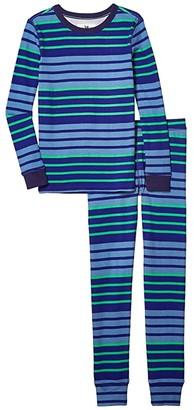 crewcuts by J.Crew Multi Stripe Long Sleeve Sleep Set (Toddler/Little Kids/Big Kids) (Blue/Green) Boy's Pajama Sets