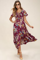 Somedays Lovin Somedays Lovin' Supremes Plum Purple Floral Print Maxi Dress