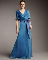 Flutter-Sleeve Iridescent Gown