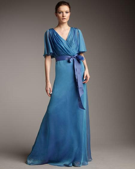 Tadashi Shoji Flutter-Sleeve Iridescent Gown