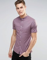 Asos Skinny Shirt With Grandad Collar And Short Sleeves In Light Plum