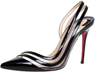 Christian Louboutin Black Patent Leather & PVC Paralili Slingback Pumps Size 37