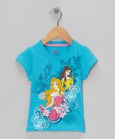 Children's Apparel Network Disney Princess Aqua Floral Tee - Toddler