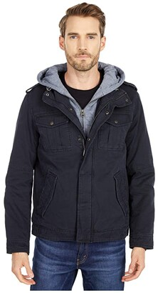 Levi's Two-Pocket Hoodie with Zip Out Jersey Bib/Hood and Sherpa Lining (Dark Brown) Men's Sweatshirt