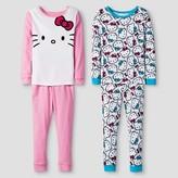 Hello Kitty Toddler Girls' Long Sleeve 4-Piece Cotton Pajama Set Multi-Colored