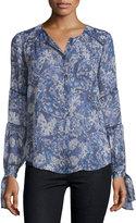 Rebecca Taylor Kiku Floral Lace-Trim Blouse, Navy