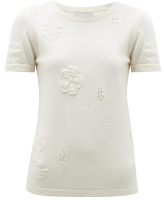 Barrie Flower-jacquard Cashmere-blend Top - Womens - Ivory