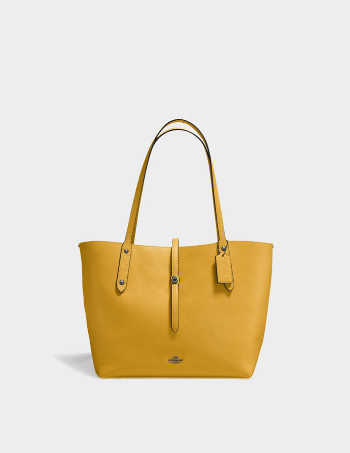 Coach Market Tote Bag in Yellow Calfskin