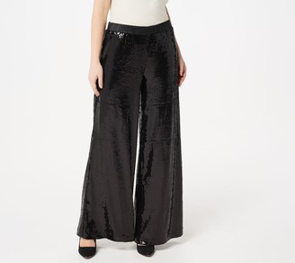 Lisa Rinna Collection Stretch Pull-On Sequin Wide Leg Pants