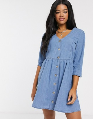 Asos DESIGN soft denim tea dress in midwash blue