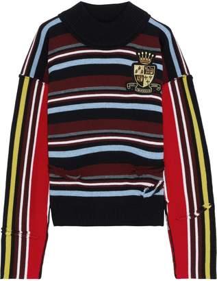 J.W.Anderson Distressed Appliqued Striped Intarsia Merino Wool Sweater