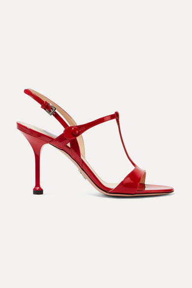 Prada 90 Patent-leather Slingback Sandals - Red
