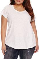 Boutique + + Short Sleeve Scoop Neck T-Shirt-Womens Plus