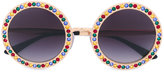 Dolce & Gabbana embellished round frame sunglasses - women - Metal (Other)/Swarovski Crystal - One Size