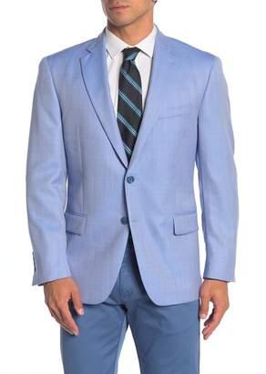 Hart Schaffner Marx Light Blue Herringbone Two Button Notch Lapel Wool Classic Fit Blazer