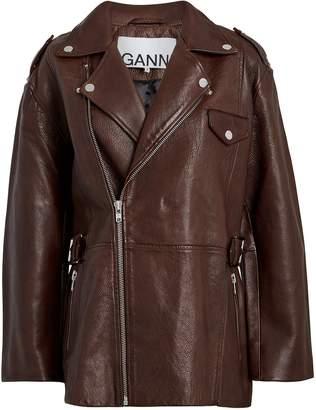 Ganni Grained Leather Oversized Jacket