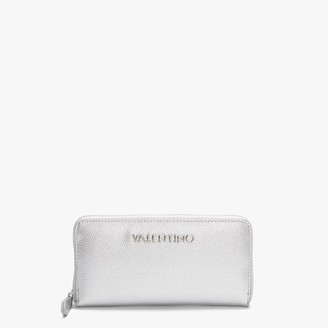 Valentino By Mario Valentino Divina Silver Zip Around Wallet