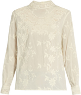 Sea Long-sleeved floral-embroidered cotton top