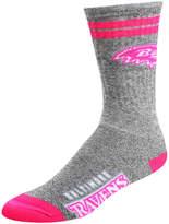 For Bare Feet Adult Baltimore Ravens Two Stripe Crew Socks