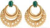 Elizabeth Cole Portia 24-karat gold-plated malachite earrings