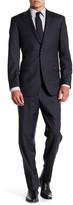 Ike Behar Charcoal Sharkskin Two Button Notch Lapel Wool Suit
