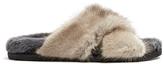 Max Mara Crossover strap mink-fur slides