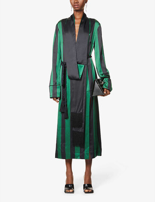 Monse Striped robe satin-crepe maxi dress