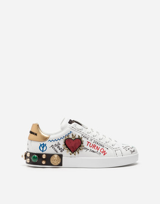 Dolce & Gabbana Printed Calfskin Nappa Portofino Sneakers With Patch And Embroidery