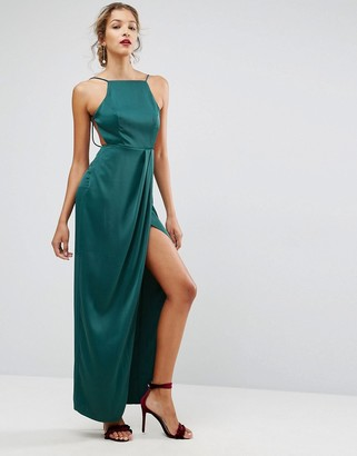 Asos Design Drape Front Delicate Back Maxi Dress-Green