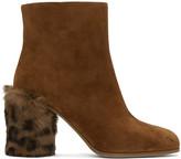 Miu Miu Tan Leopard Fur Heel Boots