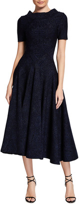 Alaia Metallic Fit-&-Flare Midi Dress