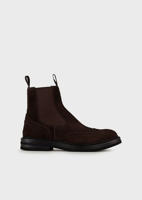 Emporio Armani Suede, Wingtip Beatle Boots