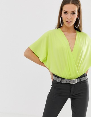 Asos DESIGN angel sleeve wrap body in neon green