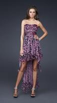 La Femme High Low Dress with Animal Print 16293
