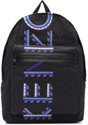 Kenzo Black and Blue Large Logo Backpack