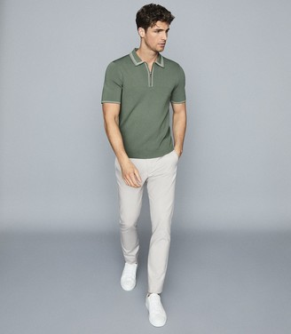 Reiss Stetson - Tipped Zip Neck Polo Shirt in Sage