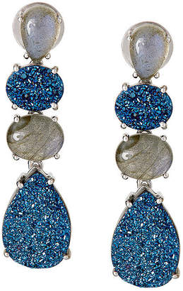 FINE JEWELRY LIMITED QUANTITIES Genuine Labradorite and Quartz Sterling Silver Drop Earrings
