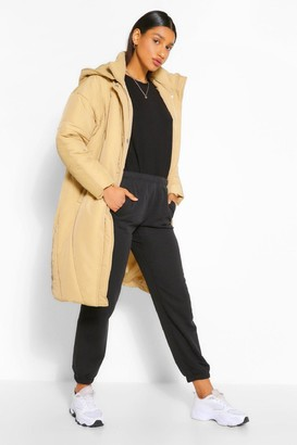 boohoo Longline Hooded Puffer Jacket