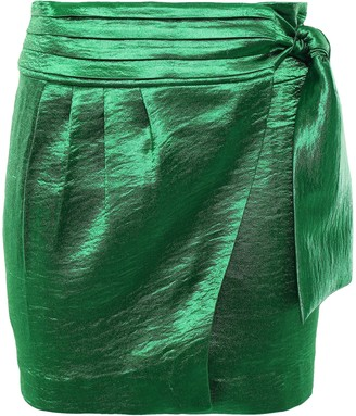 BA&SH Cobalt Crinkled-satin Mini Wrap Skirt