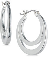 Nine West Silver-Tone Polished Double Hoop Earrings