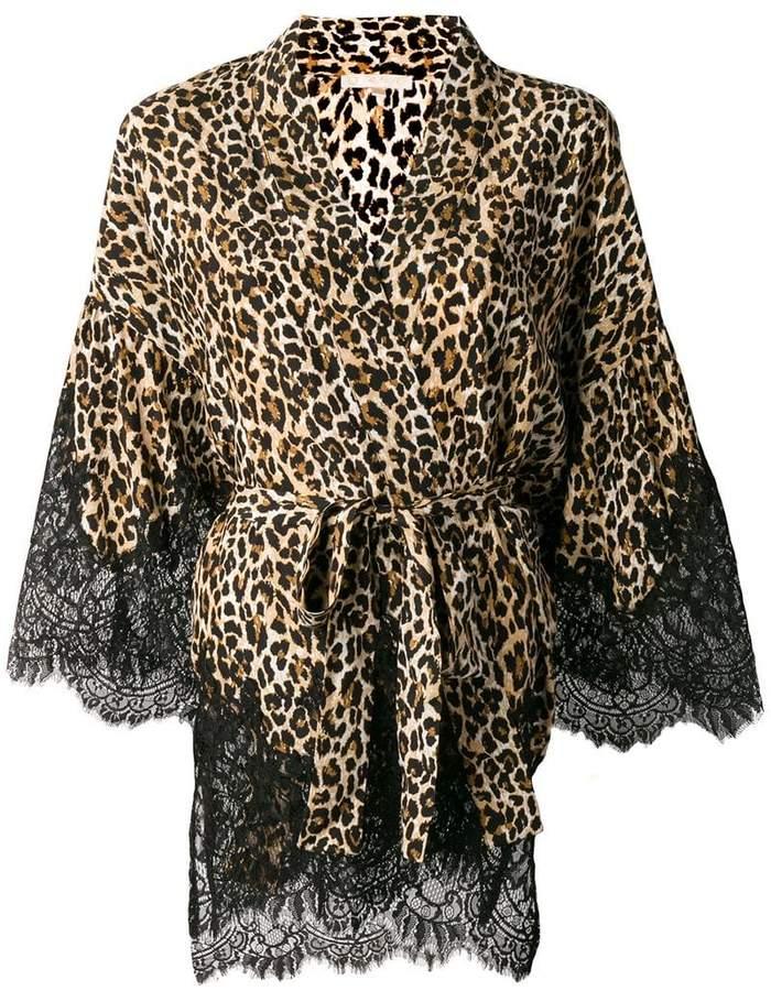 Gold Hawk leopard print lace trim kimono top