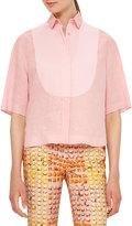 Akris Punto Half-Sleeve Linen Blouse, Coral