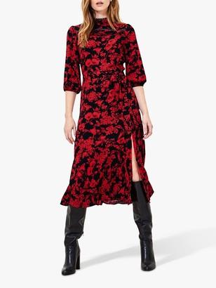 Oasis Scarlet Statement Floral Midi Dress, Red/Multi